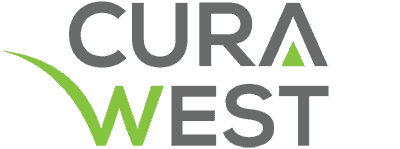 A logo for CuraWest, a medical detox facility for the treatment of drug and alcohol addiction in Denver, Colorado.