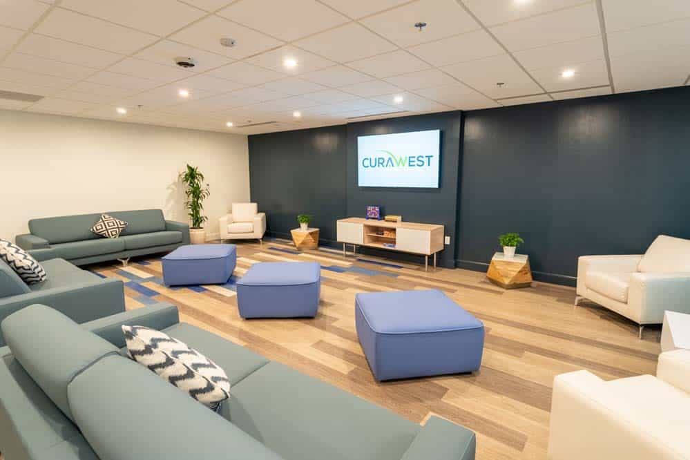 The client lounge at CuraWest, a medical detox facility for the treatment of drug and alcohol addiction in Denver, Colorado.