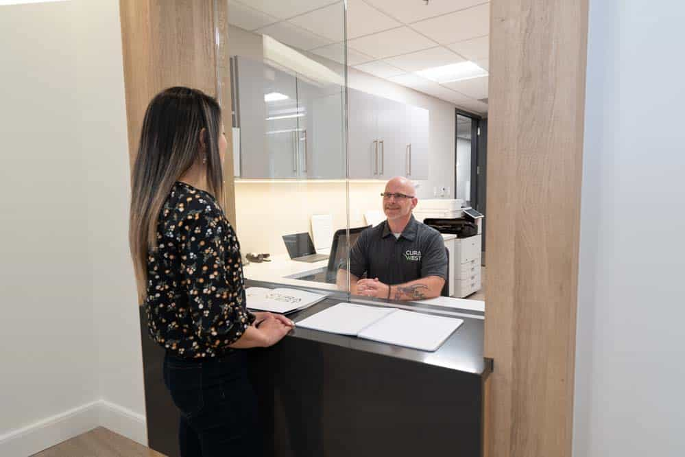 The reception desk at CuraWest, a medical detox facility for the treatment of drug and alcohol addiction in Denver, Colorado.